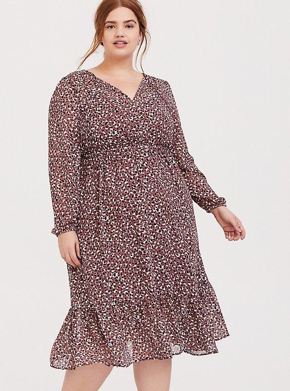 Walnut Leopard Chiffon Midi Dress, , hi-res