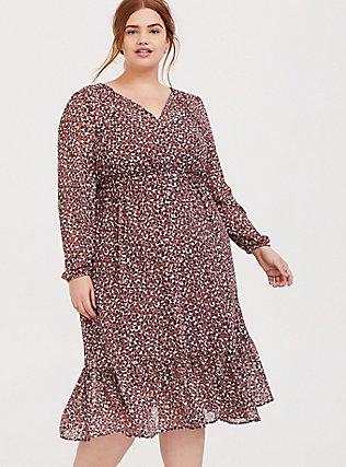 Walnut Leopard Chiffon Midi Dress, LEOPARDS-PINK, hi-res