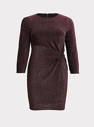 Rose Gold Glitter Knotted Shift Dress, ROSE GOLD, flat