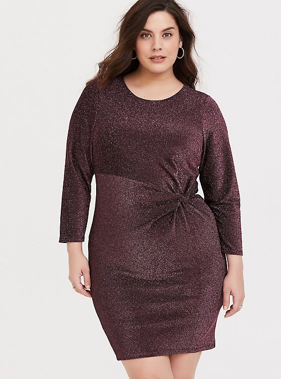 Plus Size Rose Gold Glitter Knotted Shift Dress, , hi-res
