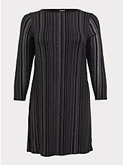 Black Studio Knit Studded Shift Dress, DEEP BLACK, hi-res
