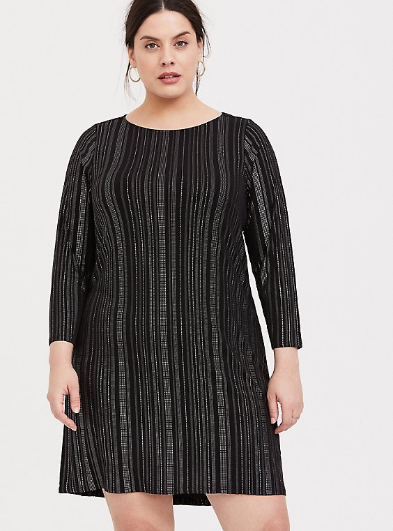 Plus Size Black Studio Knit Studded Shift Dress, , hi-res