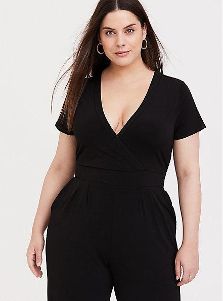Plus Size Black Studio Knit Wide Leg Jumpsuit, DEEP BLACK, alternate