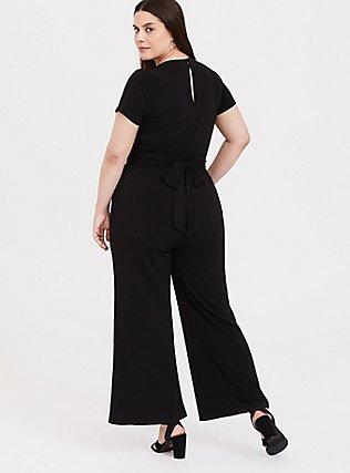 Black Studio Knit Wide Leg Jumpsuit, DEEP BLACK, alternate