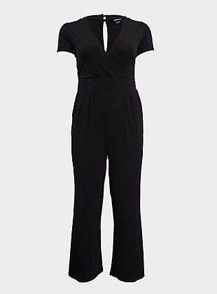 Black Studio Knit Wide Leg Jumpsuit, DEEP BLACK, flat