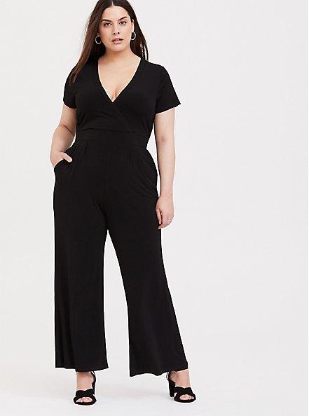 Plus Size Black Studio Knit Wide Leg Jumpsuit, DEEP BLACK, hi-res