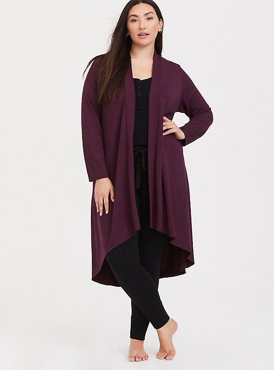 Burgundy Purple Hacci Hi-Lo Sleep Cardigan, , hi-res