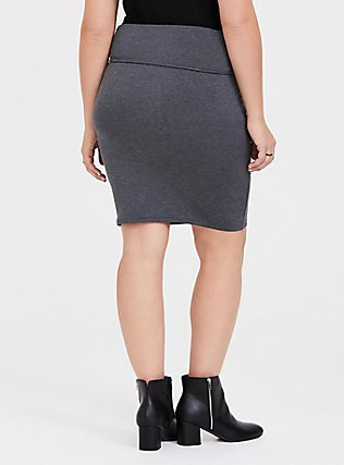 Charcoal Grey Fleece Foldover Mini Skirt, CHARCOAL  GREY, alternate