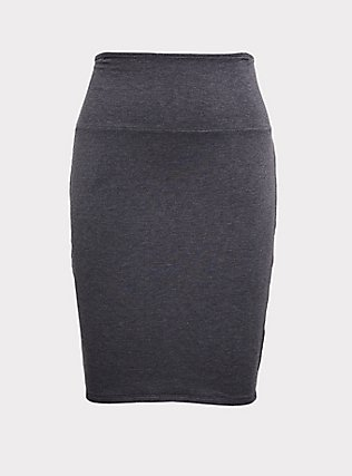 Charcoal Grey Fleece Foldover Mini Skirt, CHARCOAL  GREY, flat