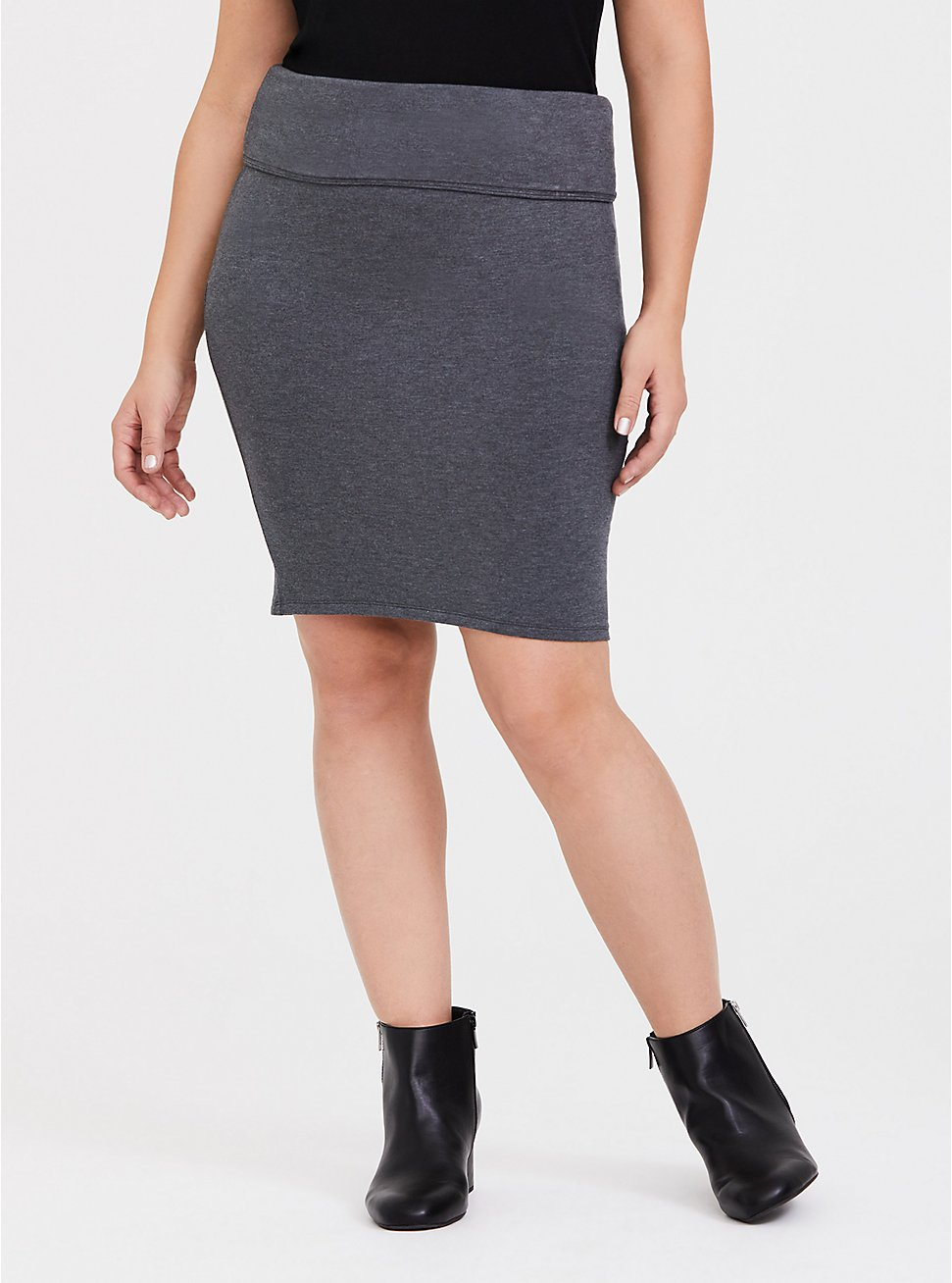 Charcoal Grey Fleece Foldover Mini Skirt, CHARCOAL  GREY, hi-res