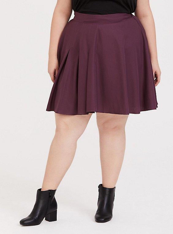 Purple Wine Twill Pleated Mini Skater Skirt, , hi-res