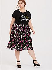 Plus Size Black Floral Chiffon Pleated Midi Skirt, FLORAL - BLACK, alternate