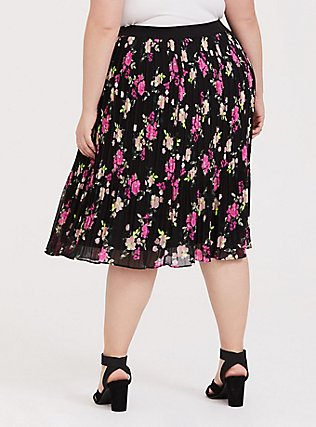 Black Floral Chiffon Pleated Midi Skirt, FLORAL - BLACK, alternate