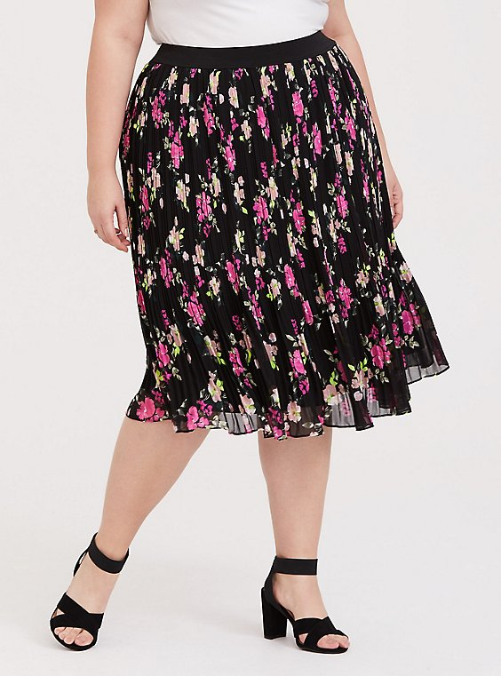 Plus Size Black Floral Chiffon Pleated Midi Skirt, , hi-res