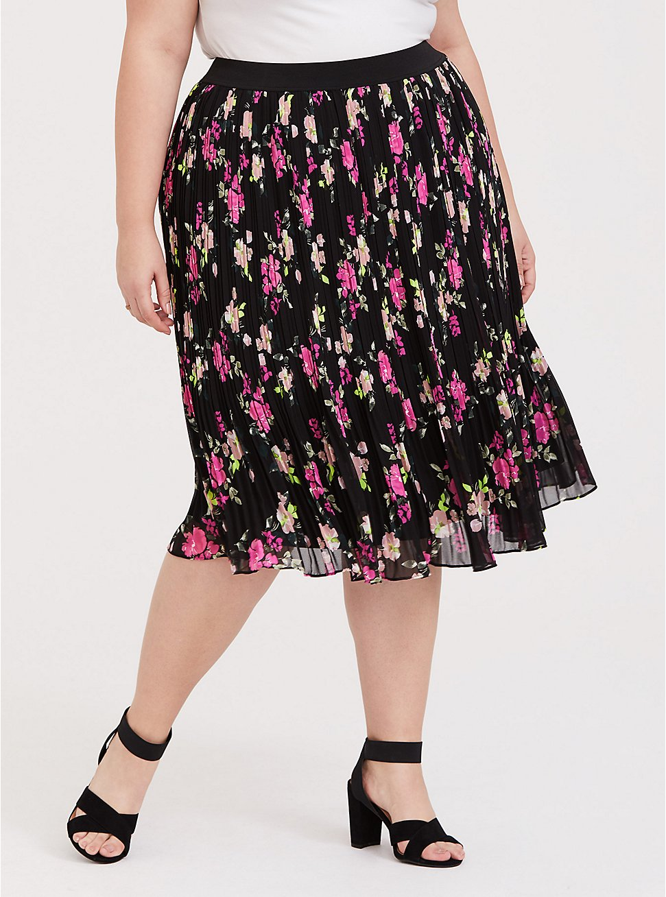 Plus Size Black Floral Chiffon Pleated Midi Skirt, FLORAL - BLACK, hi-res