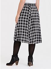 Black & White Plaid Challis Button Midi Skirt, PLAID - BLACK, alternate