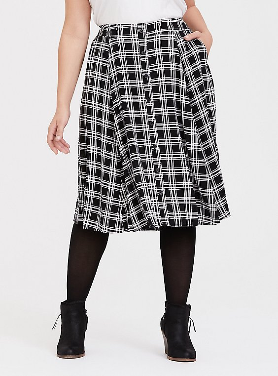 Black & White Plaid Challis Button Midi Skirt, , hi-res