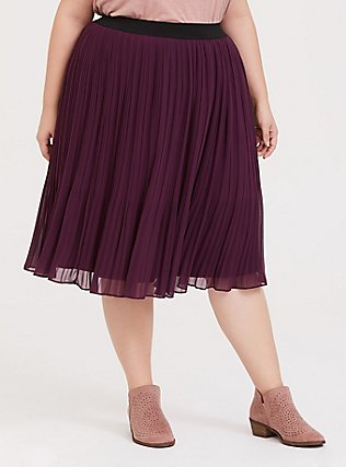 Plus Size Burgundy Purple Chiffon Pleated Midi Skirt, HIGHLAND THISTLE, hi-res