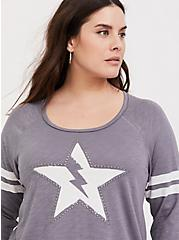 Slate Grey Bolt Star Studded Football Tee, DARK PEARL GREY, alternate