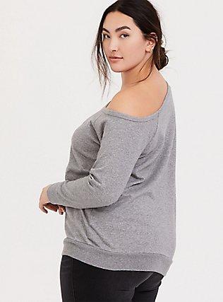 Grey Flocked Flower Girl Off Shoulder Sweatshirt, MEDIUM HEATHER GREY, alternate