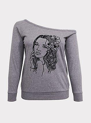 Grey Flocked Flower Girl Off Shoulder Sweatshirt, MEDIUM HEATHER GREY, flat