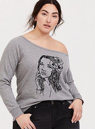 Grey Flocked Flower Girl Off Shoulder Sweatshirt, MEDIUM HEATHER GREY, hi-res