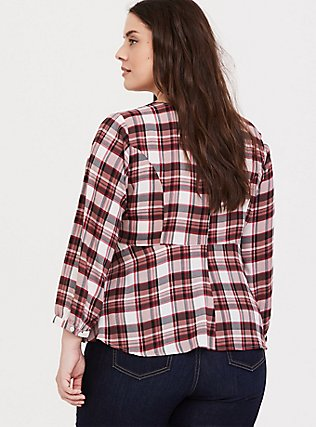 Red Plaid Georgette Tie Front Blouse, WONDERFUL PLAID, alternate