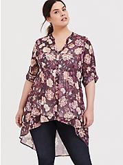 Lexie - Mauve Purple Floral Chiffon Babydoll Tunic, MULTI, hi-res