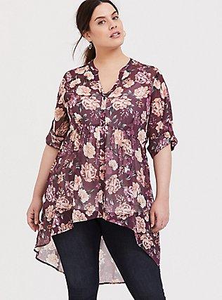 Plus Size Lexie - Mauve Purple Floral Chiffon Babydoll Tunic, MULTI, hi-res