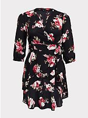 Black Floral Georgette Wrap Tunic, MULTI, hi-res