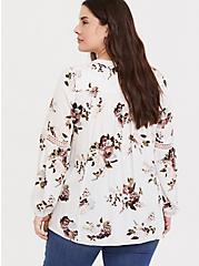 White Floral Twill Crochet Insert Tunic Blouse, MULTI, alternate