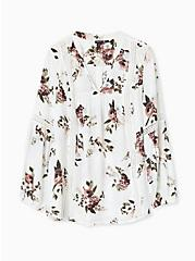 Plus Size White Floral Twill Crochet Insert Tunic Blouse, MULTI, hi-res