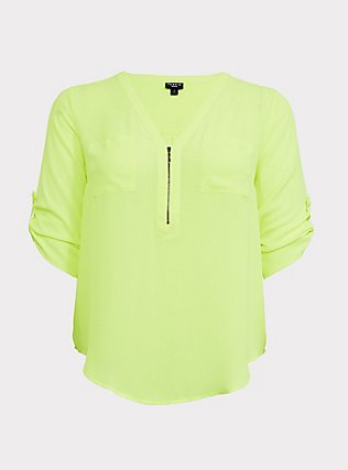 Harper - Neon Yellow Georgette Half-Zip Front Blouse, SAFETY YELLOW, flat