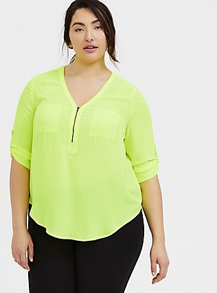 Harper - Neon Yellow Georgette Half-Zip Front Blouse, SAFETY YELLOW, hi-res