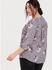 Slate Grey Floral Crepe Smocked Blouse, MULTI, alternate