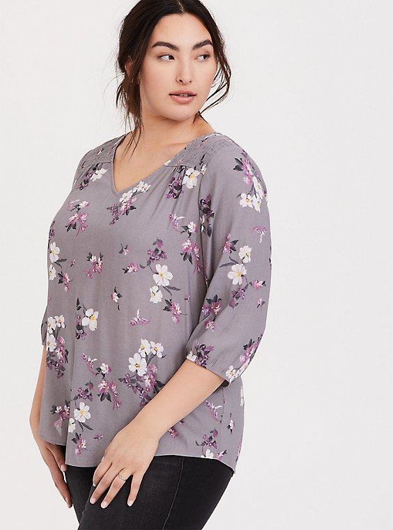 Slate Grey Floral Crepe Smocked Blouse, , hi-res