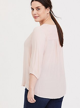 Blush Pink Crepe Smocked Blouse, PALE BLUSH, alternate