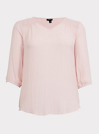 Blush Pink Crepe Smocked Blouse, PALE BLUSH, flat