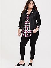Emma - Pink & Black Plaid Challis Babydoll Tunic, PLAID - PINK, alternate