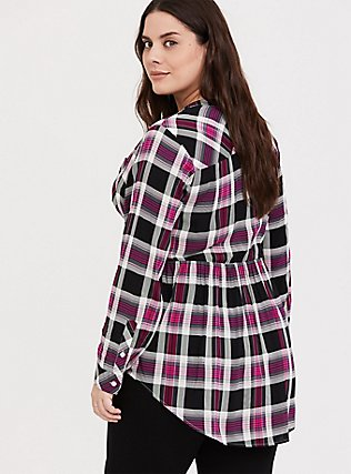 Emma - Pink & Black Plaid Challis Babydoll Tunic, PLAID - PINK, alternate