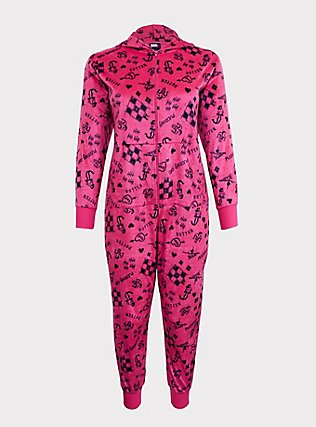 Plus Size Her Universe DC Comics Birds of Prey Harley Quinn Cat Sleep Onesie, MAGENTA, flat