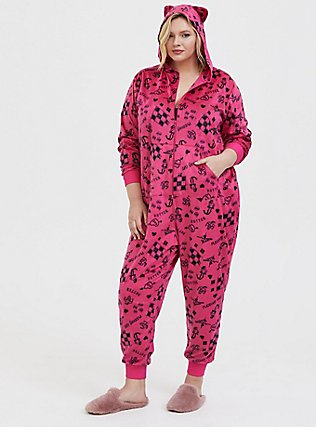 Plus Size Her Universe DC Comics Birds of Prey Harley Quinn Cat Sleep Onesie, MAGENTA, hi-res