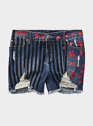Her Universe DC Comics Birds of Prey Harley Quinn Denim Stars & Stripes Short Short, SKYLINE, flat