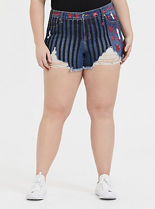 Her Universe DC Comics Birds of Prey Harley Quinn Denim Stars & Stripes Short Short, SKYLINE, hi-res