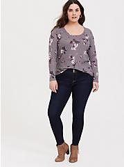 Slate Grey Floral Waffle Knit Long Sleeve Tee, FLORALS-OLIVE, alternate