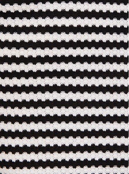 Black & White Stripe Waffle Knit Long Sleeve Tee, MULTI STRIPE, alternate