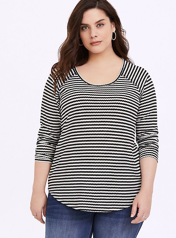 Black & White Stripe Waffle Knit Long Sleeve Tee, , hi-res