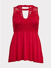 Super Soft & Lace Red Choker Babydoll Tank, JESTER RED, hi-res