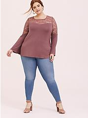 Super Soft & Lace Walnut Bell Sleeve Top, WALNUT, alternate