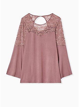 Plus Size Super Soft & Lace Walnut Bell Sleeve Top, WALNUT, flat